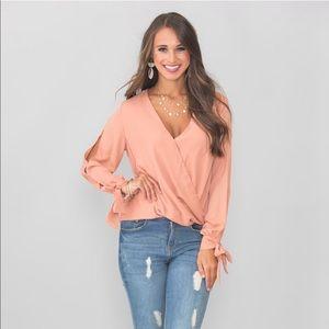 V cut long sleeve blouse